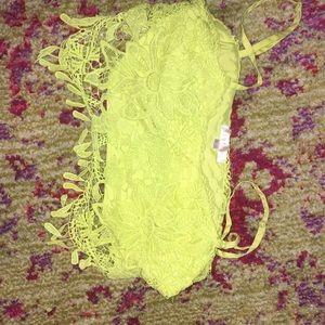 Yellow lace crochet detailed crop top